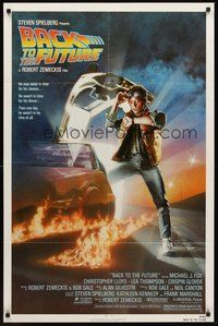 2p050 BACK TO THE FUTURE 1sh '85 Robert Zemeckis, art of Michael J. Fox & Delorean by Drew Struzan!