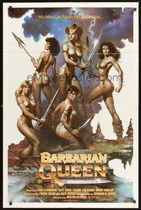 2p055 BARBARIAN QUEEN 1sh '85 sexy artwork of five near-naked female warriors by Boris Vallejo!