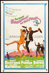 2p057 BAREFOOT IN THE PARK 1sh '67 artwork of frollicking Robert Redford & sexy Jane Fonda!