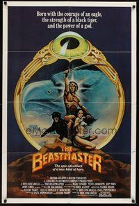 2p059 BEASTMASTER int'l 1sh '82 cool fantasy art of barechested Marc Singer & sexy Tanya Roberts!