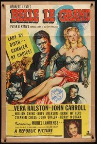 2p061 BELLE LE GRAND kraftbacked 1sh '51 art of sexy Vera Ralston who is a lady gambler by choice!