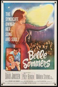 2p062 BELLE SOMMERS 1sh '62 David Janssen, the syndicate owned Polly Bergen, song and soul!
