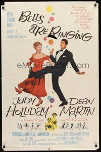 2p063 BELLS ARE RINGING 1sh '60 full-length image of Judy Holliday & Dean Martin singing & dancing!