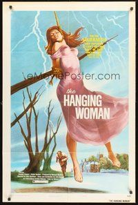 2p065 BEYOND THE LIVING DEAD 1sh '74 The Hanging Woman, wild horror artwork!