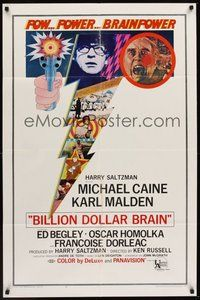 2p067 BILLION DOLLAR BRAIN 1sh '67 Michael Caine, Karl Malden, Ken Russell, Caine vs. Brain!