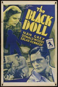 2p068 BLACK DOLL 1sh R42 Nan Grey, Donald Woods, crime club thriller!