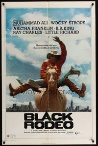 2p070 BLACK RODEO 1sh '72 Muhammad Ali, Woody Strode, black cowboy on horse in city image!