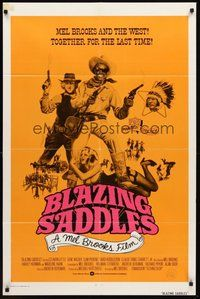 2p072 BLAZING SADDLES int'l 1sh '74 classic Mel Brooks western, wacky different art!