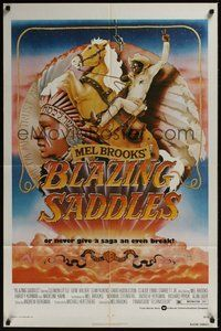 2p071 BLAZING SADDLES 1sh '74 classic Mel Brooks western, art of Cleavon Little by John Alvin!