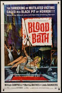 2p075 BLOOD BATH 1sh '66 AIP, art of sexy shrieking girl being lowered into a pit of horror!