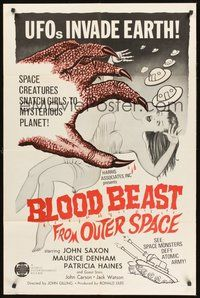 2p076 BLOOD BEAST FROM OUTER SPACE 1sh '66 UFOs invade Earth, creatures snatch sexy girls!