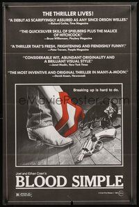 2p077 BLOOD SIMPLE 1sh '85 Joel & Ethan Coen, Frances McDormand, cool film noir gun image!