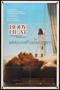 2p078 BODY HEAT 1sh '81 sexy smoking Kathleen Turner in robe & barechested William Hurt!