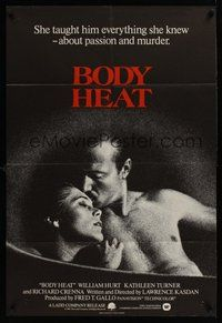2p079 BODY HEAT English 1sh '82 close-up of William Hurt & sexy Kathleen Turner!