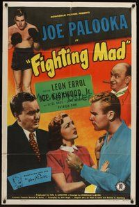 2p238 FIGHTING MAD 1sh '48 boxing Joe Kirkwood Jr. as Joe Palooka, Leon Errol!
