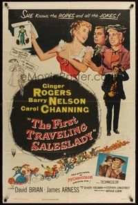 2p246 FIRST TRAVELING SALESLADY 1sh '56 Ginger Rogers sells barbed-wire in Texas!