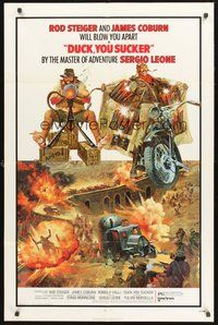 2p247 FISTFUL OF DYNAMITE 1sh '72 Sergio Leone, art of Rod Steiger & Coburn, Duck, You Sucker!