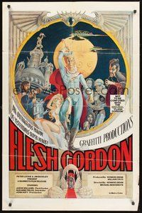 2p250 FLESH GORDON 1sh '74 sexy sci-fi spoof, wacky erotic super hero art by George Barr!