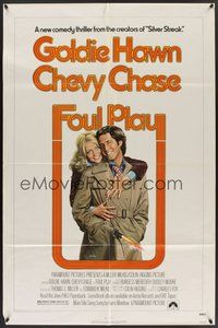 2p254 FOUL PLAY 1sh '78 wacky Lettick art of Goldie Hawn & Chevy Chase, screwball comedy!