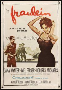 2p257 FRAULEIN 1sh '58 sexy half-dressed Dana Wynter is a G.I.'s prize of war!