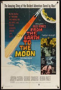 2p260 FROM THE EARTH TO THE MOON 1sh '58 Jules Verne's boldest adventure dared by man!