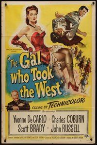 2p262 GAL WHO TOOK THE WEST 1sh '49 full-length art of sexy Yvonne De Carlo!