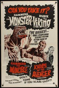 2p266 GAMMERA THE INVINCIBLE/KNIVES OF THE AVENGER 1sh '60s sci-fi horror, can you take it?!