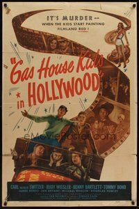 2p268 GAS HOUSE KIDS IN HOLLYWOOD 1sh '47 Rudy Wissler, Benny Bartlett, Bond & Alfalfa Switzer!