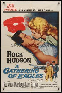 2p269 GATHERING OF EAGLES 1sh '63 romantic close-up artwork of Rock Hudson & sexy Mary Peach!