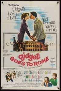 2p274 GIDGET GOES TO ROME 1sh '63 James Darren & Cindy Carol by Italy's Colisseum!