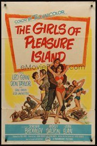 2p278 GIRLS OF PLEASURE ISLAND 1sh '53 Leo Genn, Don Taylor, wacky art of soldiers w/sexy girls!