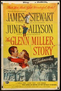 2p281 GLENN MILLER STORY 1sh '54 James Stewart in the title role, June Allyson, Louis Armstrong!