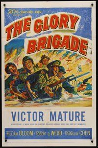 2p282 GLORY BRIGADE 1sh '53 cool artwork of Victor Mature & soldiers in Korean War!