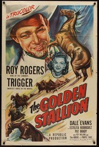 2p286 GOLDEN STALLION 1sh '49 Roy Rogers, Dale Evans, Trigger & The Riders of the Purple Sage!