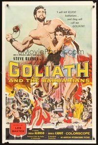 2p287 GOLIATH & THE BARBARIANS 1sh '59 art of Steve Reeves protecting sexy Chelo Alonso!