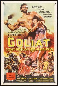 2p288 GOLIATH & THE BARBARIANS Spanish/U.S. 1sh '59 art of Steve Reeves protecting sexy Chelo Alonso!