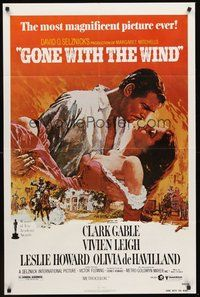 2p290 GONE WITH THE WIND 1sh R80 art of Clark Gable holding Vivien Leigh by Howard Terpning!
