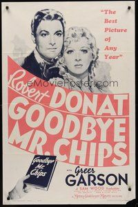 2p293 GOODBYE MR. CHIPS 1sh R62 dedicated teacher Robert Donat, pretty Greer Garson!