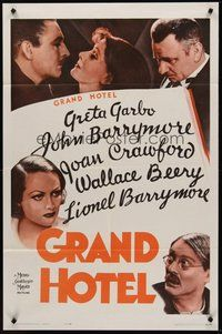 2p297 GRAND HOTEL 1sh R62 Greta Garbo, John & Lionel Barrymore, Joan Crawford, Wallace Beery!
