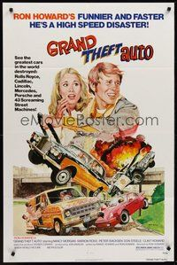 2p298 GRAND THEFT AUTO 1sh '77 Ron Howard, Roger Corman, John Solie car crash art!