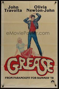 2p299 GREASE teaser 1sh '78 John Travolta & Olivia Newton-John in a most classic musical!