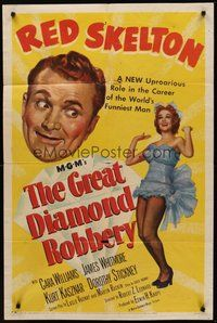 2p301 GREAT DIAMOND ROBBERY 1sh '53 artwork of Red Skelton & sexy Cara Williams!