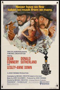 2p305 GREAT TRAIN ROBBERY 1sh '79 art of Sean Connery, Sutherland & Lesley-Anne Down by Tom Jung!