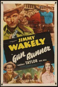 2p311 GUN RUNNER 1sh '49 Jimmy Wakely, Cannonball Taylor & Noel Neill in western action!