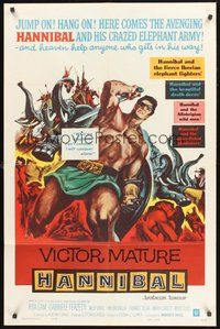 2p315 HANNIBAL 1sh '60 artwork of barechested warrior Victor Mature, Edgar Ulmer directed!