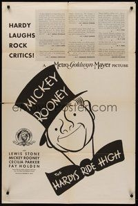 2p320 HARDYS RIDE HIGH 1sh '39 cool Al Hirschfeld art of Mickey Rooney!