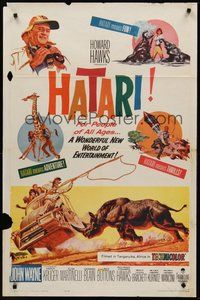 2p321 HATARI 1sh '62 Howard Hawks, great artwork images of John Wayne in Africa!