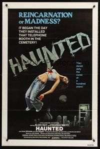 2p323 HAUNTED 1sh '77 Aldo Ray, Virginia Mayo, reincarnation or madness, ultra gruesome art!
