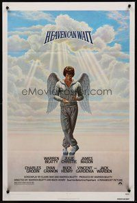 2p324 HEAVEN CAN WAIT 1sh '78 art of angel Warren Beatty wearing sweats by Lettick, football!