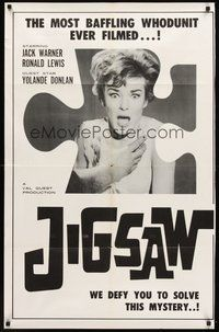 2p407 JIGSAW 1sh '62 Val Guest, shocked Yolande Donlan, most baffling whodunit ever filmed!